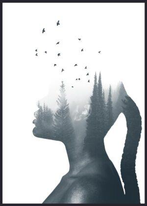 Dobbelteksponering af kvinde og træer