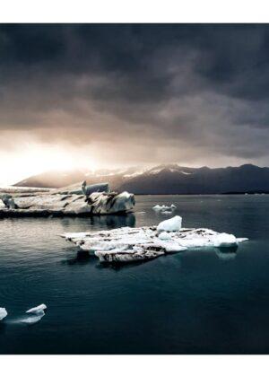 Plakat af gletsjersø på Island