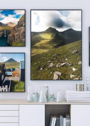 Vægudsmykning med færøsk natur